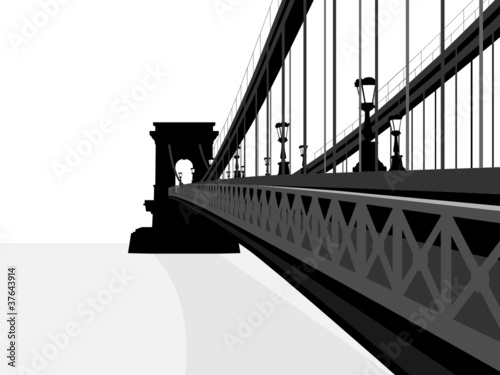 Isolated chain bridge silhouette illustration