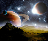 Fototapety Abstract background of deep space. In the far future travel. New