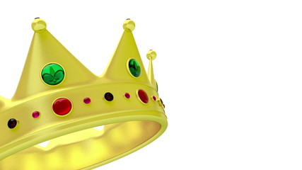 Golden crown rotates on white background