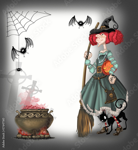 РЎute witch with a broom witchcraft