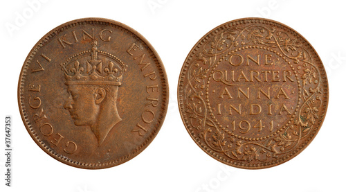 Old Indian Currency Coin - One Quarter Anna