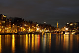 City scenic in Amsterdam the Netherlands at night poster