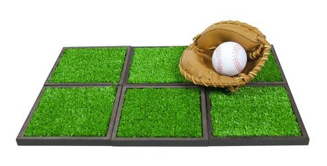 Baseball Glove and Ball on Artificial Grass