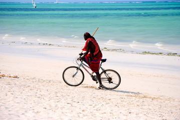 Masai in Zanzibar - Bicycle on the beach