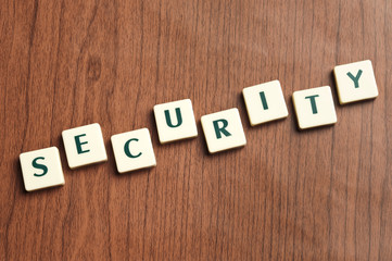 Security word made by letter pieces