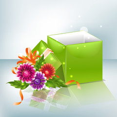 Festive background with flowers and green box.