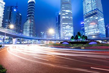 shanghai lujiazui downtown at night