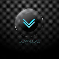 Metal background with glass DOWNLOAD button