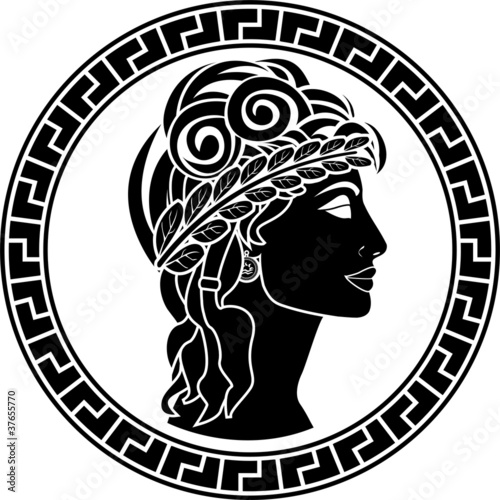 black stencil of patrician women. first variant