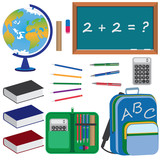 Set of objects for education in school.
