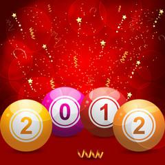 2012 bingo lottery balls on red