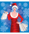 Santa girl shopping, vector illustration