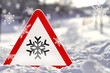 canvas print picture - Eis - Warnschild mit Schnee