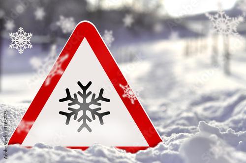 canvas print picture Eis - Warnschild mit Schnee