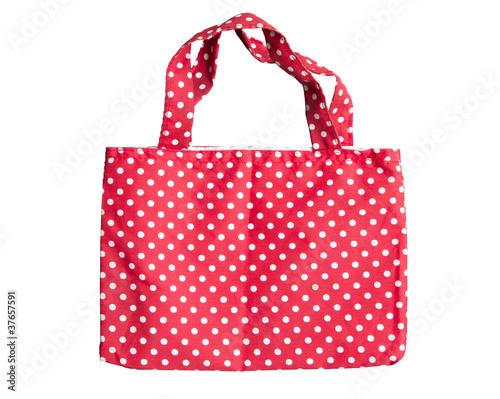 Red fabric reusable shopping bag  isolate on white background