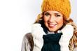 Portrait of woman on white background wearing woolen accessories