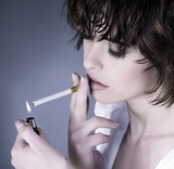 woman smoking a cigarette