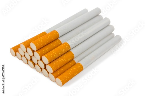 heap of cigarette  on a white background