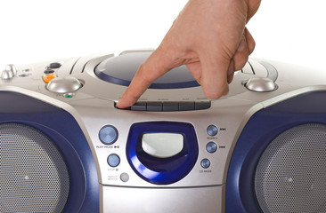 Pushing button of a tepe recorder with cd player