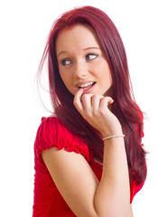 schüchternes Mädchen mit Finger im mund