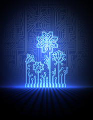vector blue electronic flowers. eps10