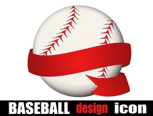 Baseball ball with a ribbon