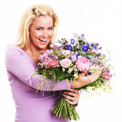 Beautiful Young Woman with a Bunch of Flowers