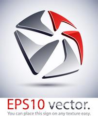 3D modern pentagonal logo icon.