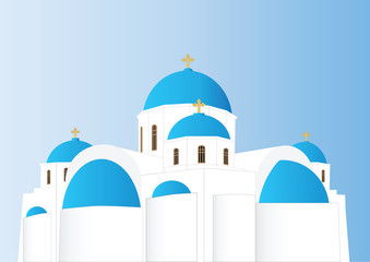 Greek Orthodox Church with blue domes and Gold Crosses