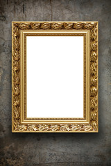 Image of blank vintage arrtframe on grunge wall