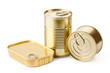 Three metallic goods can with key