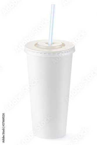 Disposable cup of big volume for beverages with straw