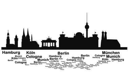 Skyline deutsche Städte mit Beschriftungen