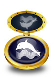 Dolphin button (vector)