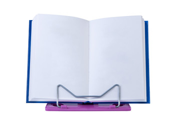 Open book with blank pages on stand isolated.