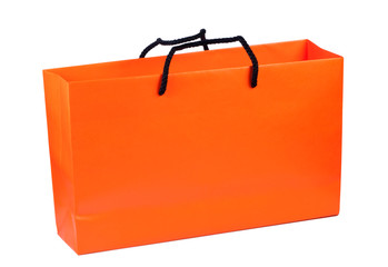 Paper bag bright orange color isolated on white background.