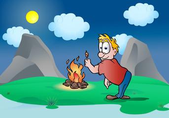 make a bonfire  in outdoor