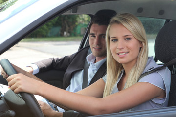 girl in driving lesson