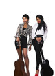 Two young women with guitars on white background