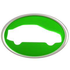 Car icon 3d green