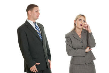 Business woman frustrated with business man