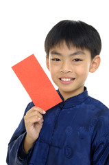 Happy chinese kids holding a chinese red envelope