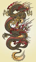 Szczegółowa ilustracja azjatycki tatuaż smoka