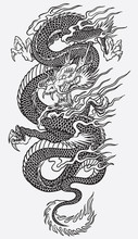 Asian Dragon Znaczniki linii wektora