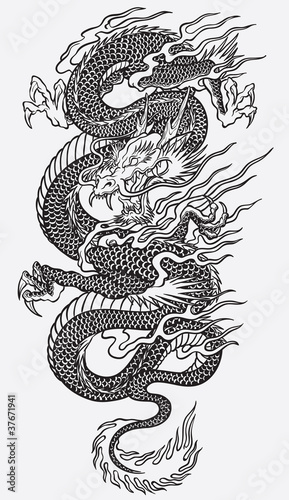 Asian Dragon Linework Vector