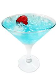 alcohol liqueur blue curacao cocktail with cherry