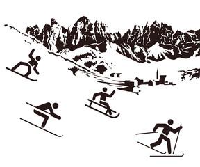 Wintersport schwarz auf weiß