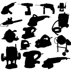 collection of power tool vector vector silhouette