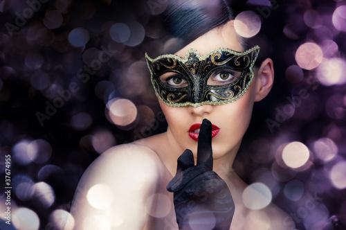 Fototapeten,flüstern,maske,gesicht,frau