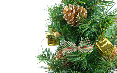 Golden decorated christmas tree with many presents and isolated